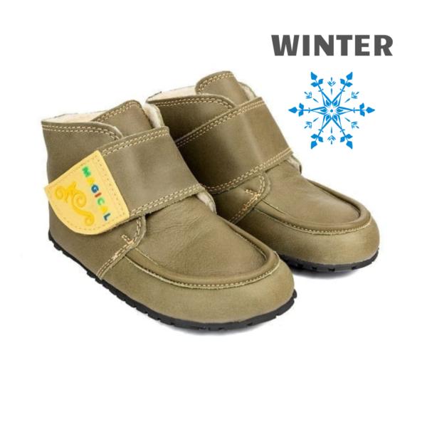 Winter minimalist shoes for kids - Magical Shoes ZiuZiu Green