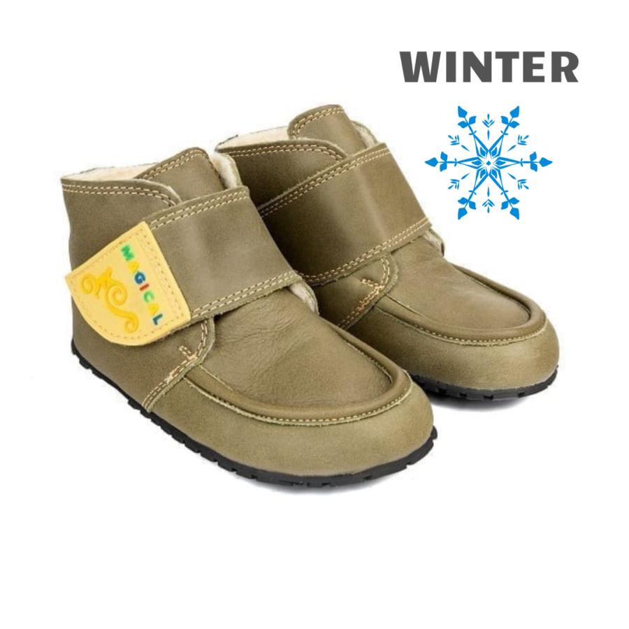 Wygodne buty dziecięce na zimę - barefoot - Magical Shoes ZiuZiu Green