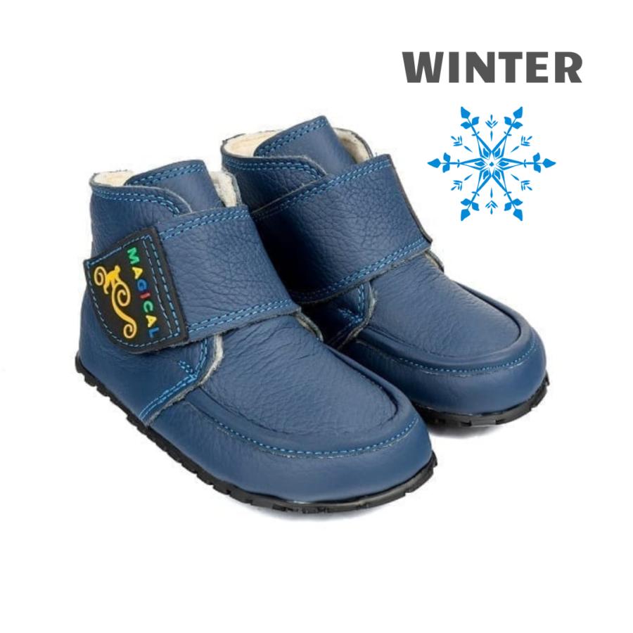 Najzdrowsze Dziecięce buty barefoot na zimę Magical Shoes ZiuZiu Navy Blue