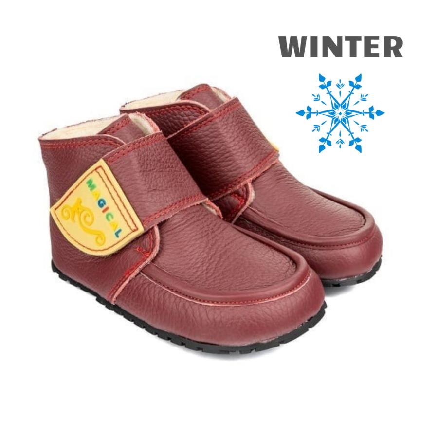 Ciepłe buciki barefoot na zimę - Magical Shoes ZiuZiu Red