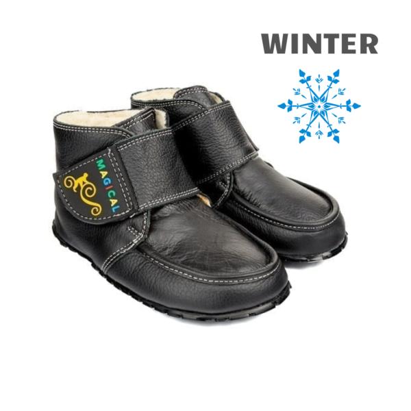 Czarne buciki do nauki chodzenia - barefoot - Magical Shoes ZiuZiu Black