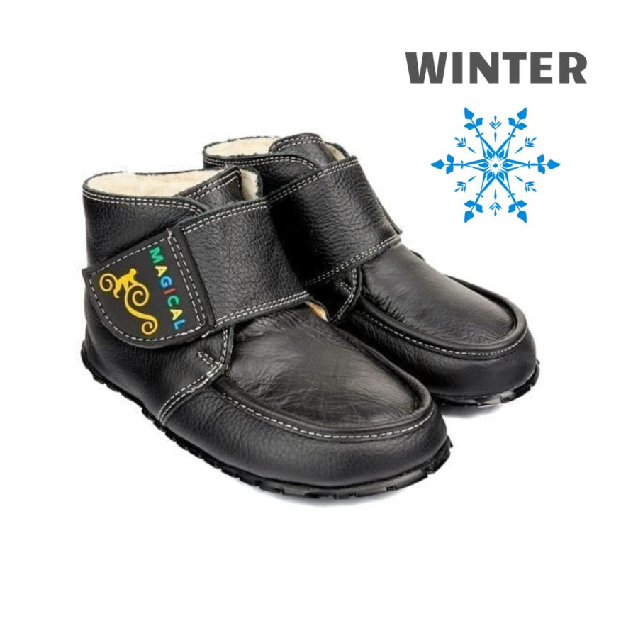 Schwarze Kinder Winter Barfußschuhe aus leder - Magical Shoes ZiuZiu Black