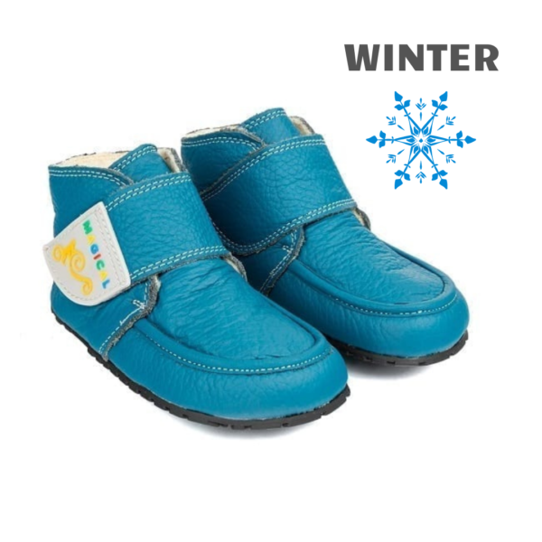 Polskie buciki zimowe barefoot dla dziecka - Magical Shoes ZiuZiu Blue