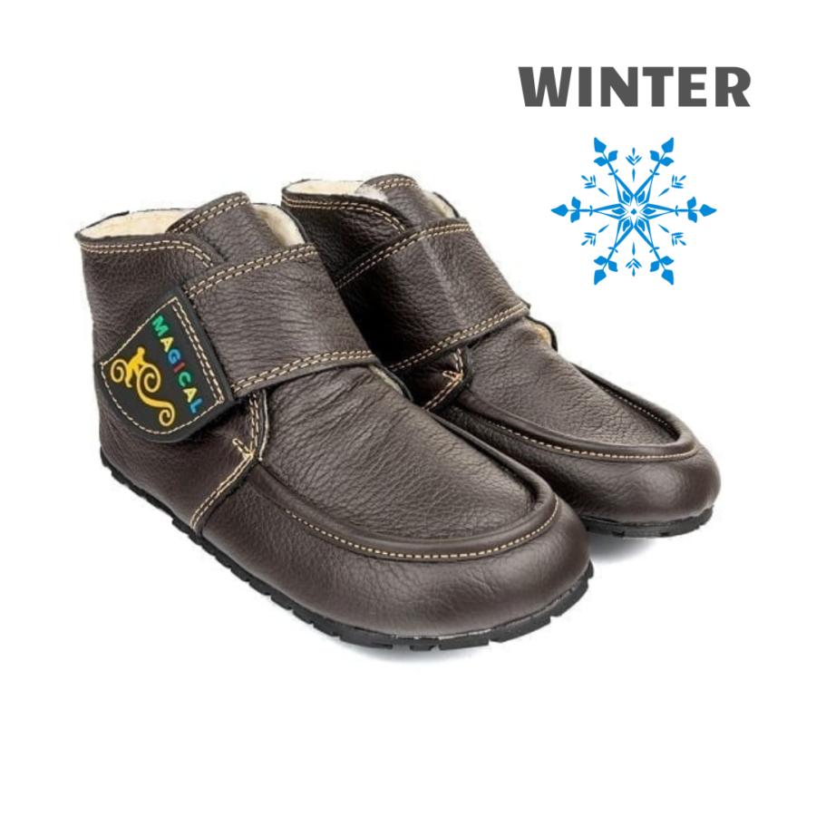 Dziecięce buty zimowe na rzepy barefoot - Magical Shoes ZiuZiu Brown