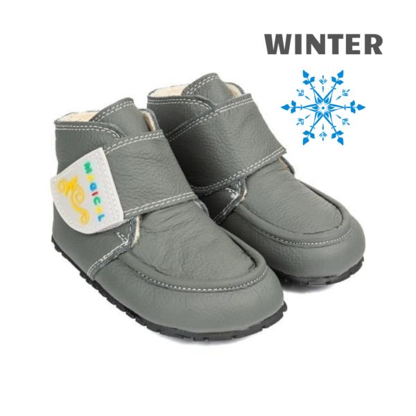 Winter barefoot boots for kids - Magical Shoes ZiuZiu Gray