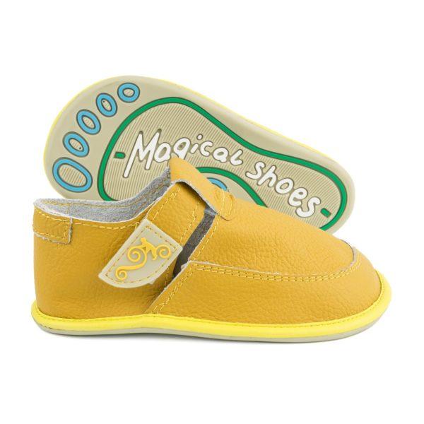 Leder-Barfußschuhe für Kinder - Magical Shoes LULU Yellow
