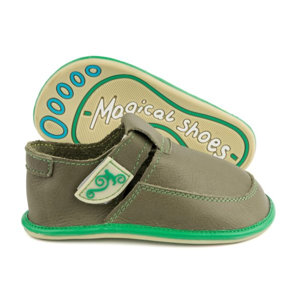 barefoot shoes for the boy Magcial Shoes LULU Green