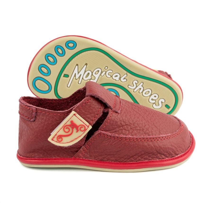 czerowne buty dziecięce ze skóry Magical Shoes LULU RED