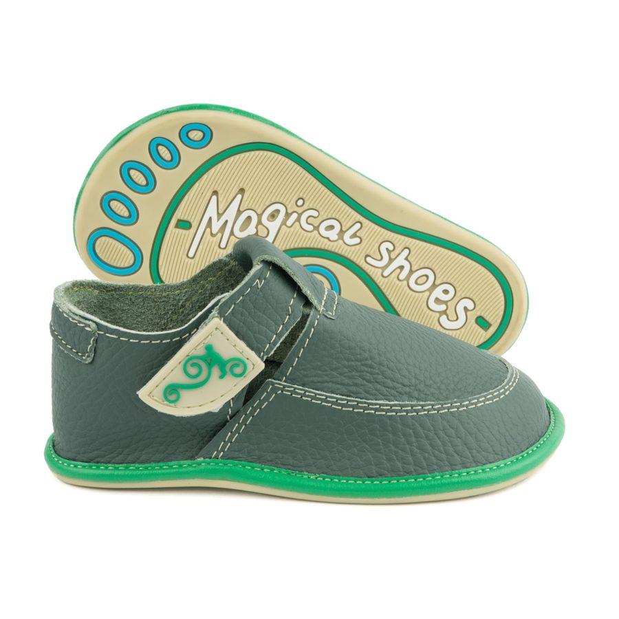 polskie buty dziecięce ze skóry Magical Shoes LULU Green