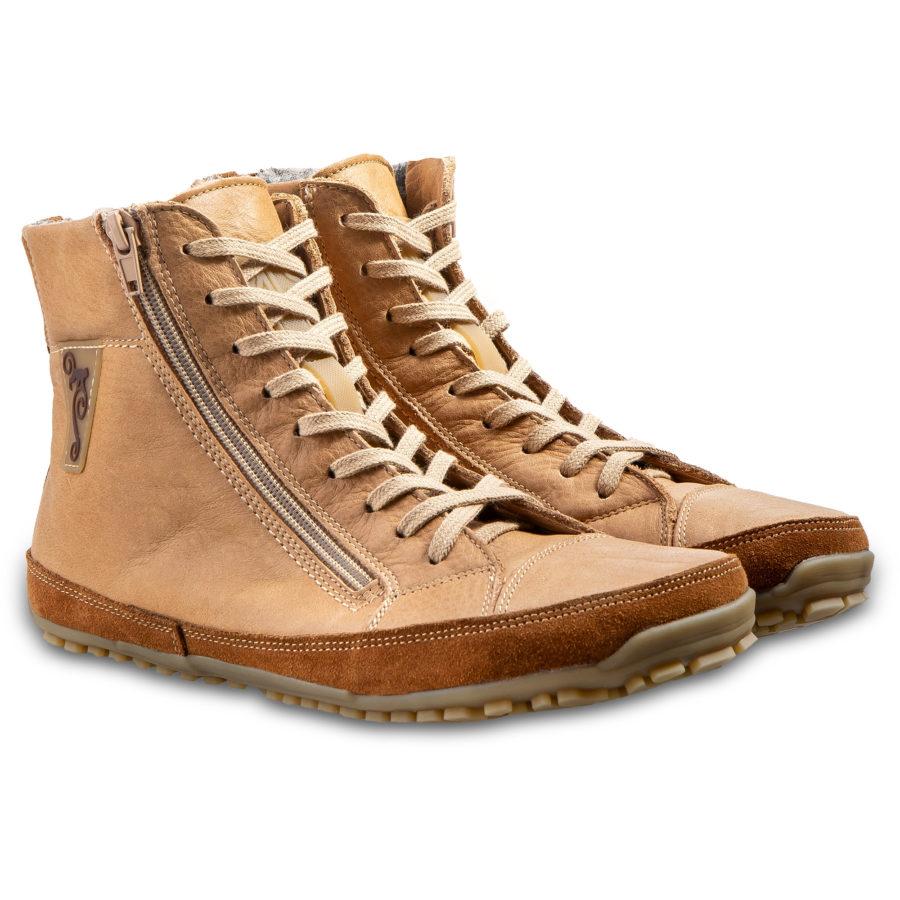 Jasne buty zimowe barefoot  ze skóry- Magcial Shoes Alaskan Buffalo Palomino