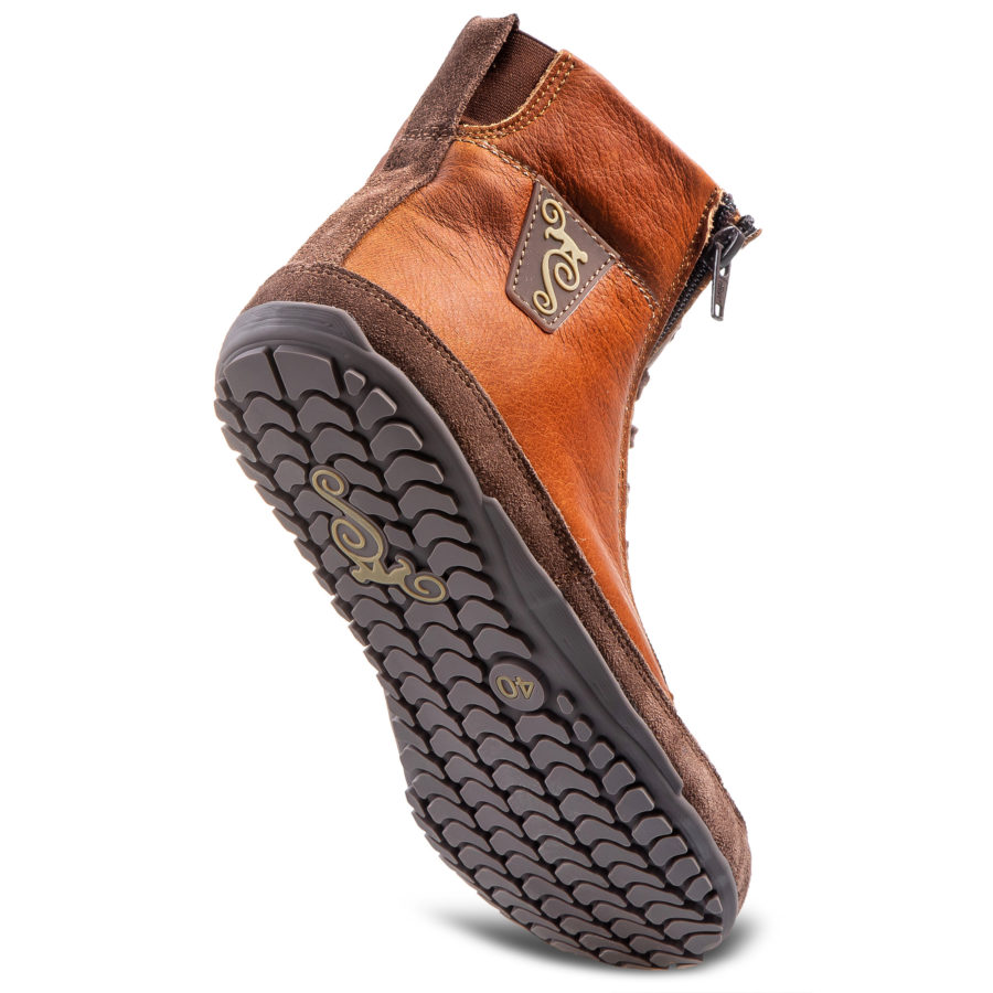 Eleganckie zimowe buty minimalistyczne - Magical Shoes Alaskan Buffalo Chestnut