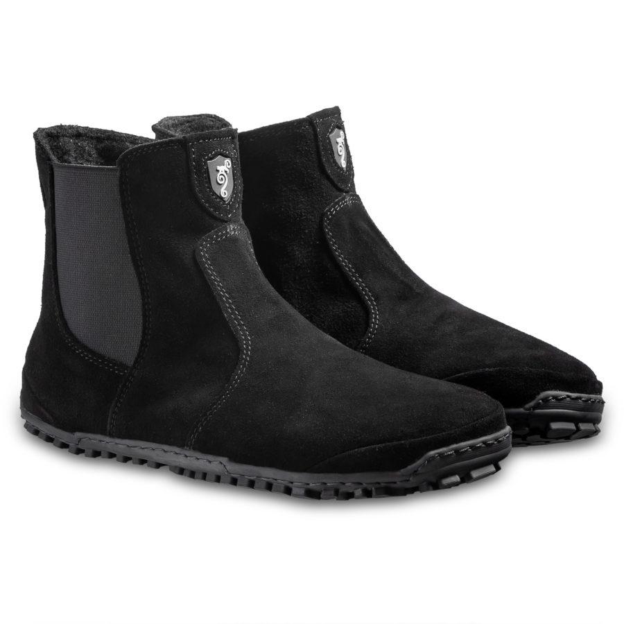 czarne sztyblety zamszowe barefoot - Magical Shoes LUPINO Black
