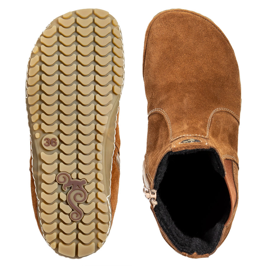 The most comfortable autumn minimalist Chelsea boots - Magical Shoes LUPINO Cognac