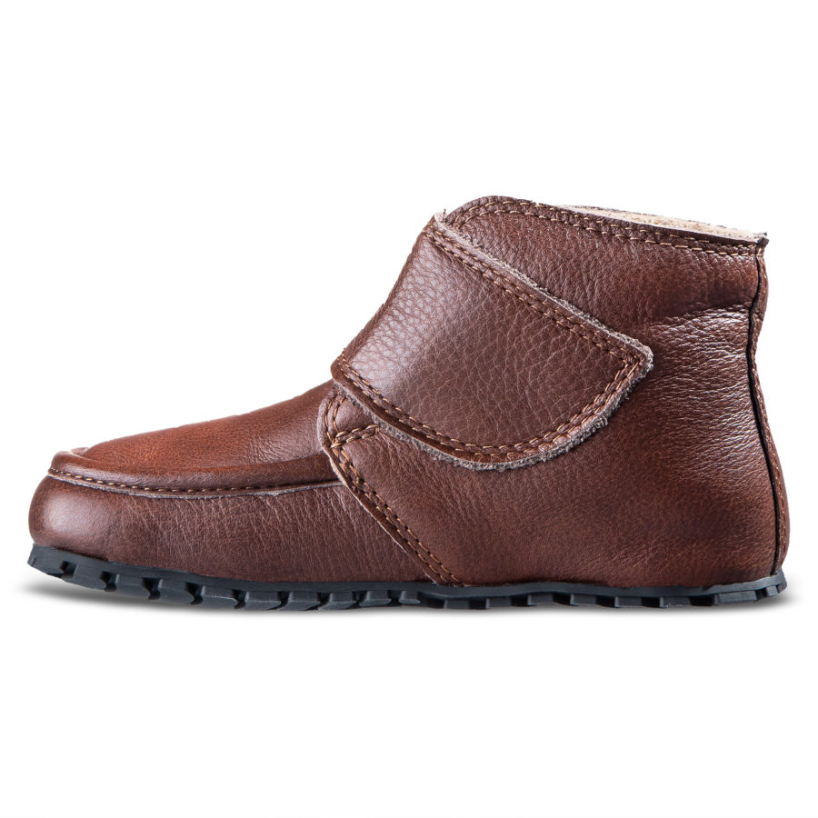 Brown kid's barefoot boots for fall - Magical Shoes TUPTUP