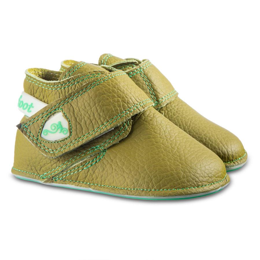 Grüne Barfuß-Kinderhausschuhe - Magical Shoes Baloo