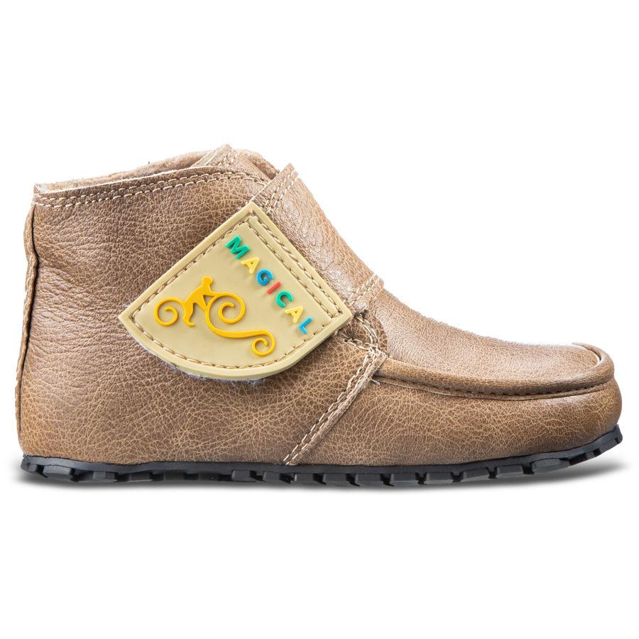 Skórzane buty dziecięce barefoot na rzepy - Magcial Shoes TupTup