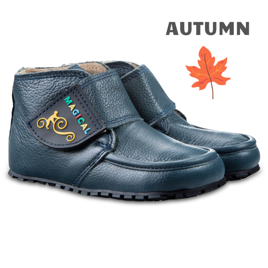 Velcro barefoot kid's boots - Magical Shoes TUPTUP Navy Blue